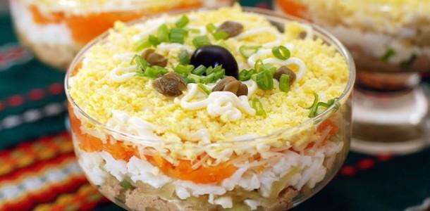 Рецепты салата печенью трески слоями фото