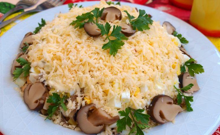 Рецепты салата курица с грибами