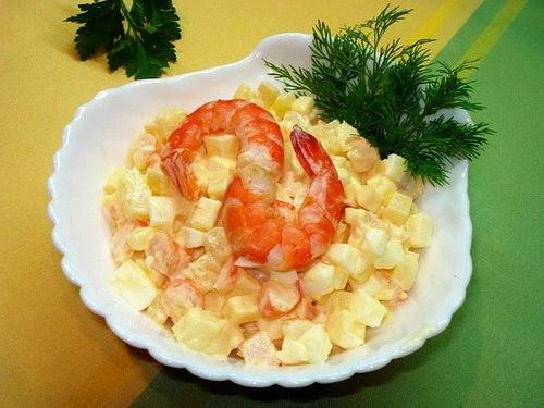 Креветки и ананас яйцо салат рецепт