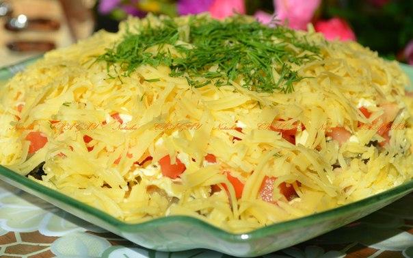 салат с грибами и куриным мясом