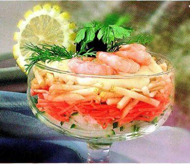 Салат коктейль с креветками рецепт с фото