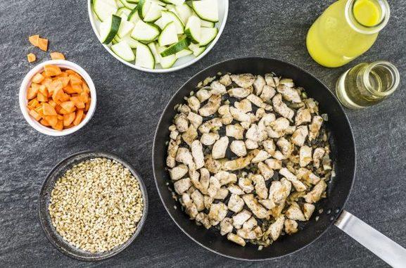 Кашотто с курицей и овощами
